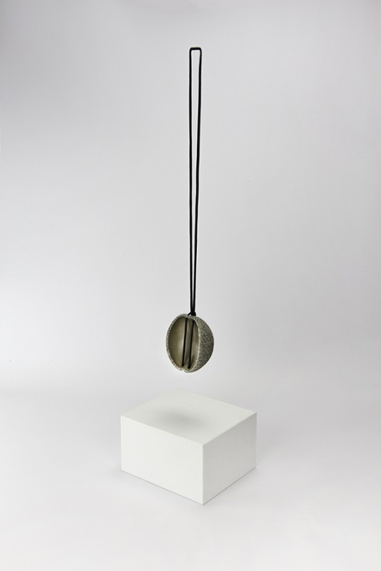 In collaboration with Klein & Becker GmbH & Co. Pendant. 2015. Mold G1. Granite, Silver. Stone Cutting, CNC Machining, electroforming. 100x85x65 mm 160gr.