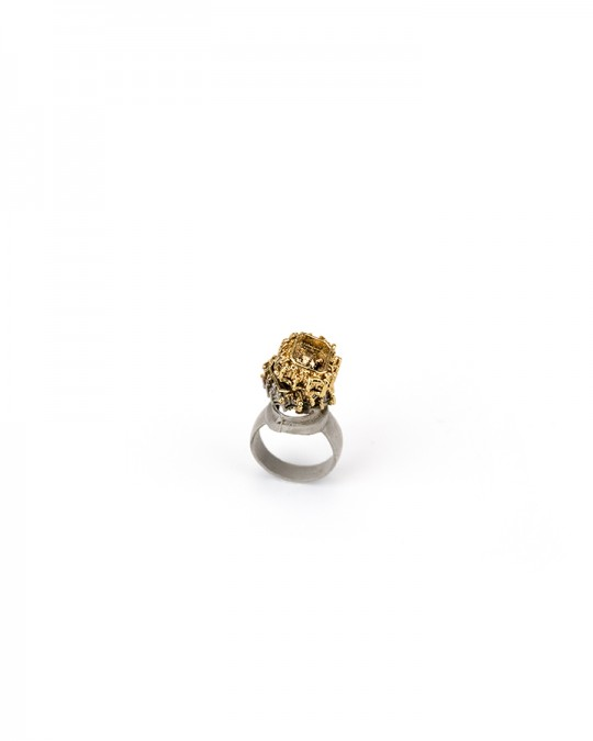 Ring. 2013 Silver, copper, gold. Lost wax casting, electroforming. 30x25x15mm