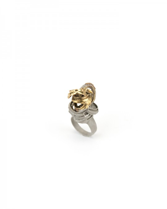 Ring. 2013 Silver, copper, gold. Lost wax casting, electroforming. 40x25x20mm
