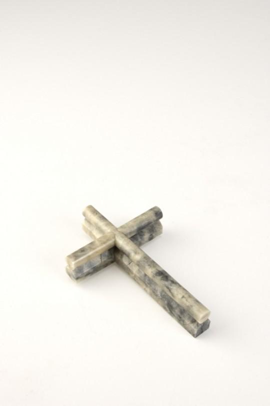 Marble cross. 2013. Brooch. Caolin, silver. Stone cutting. 92x60x20mm. 43.9gr