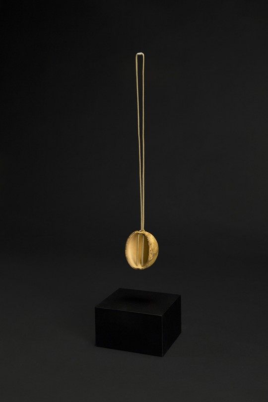 In collaboration with Klein & Becker GmbH & Co. Pendant. 2015. Mold G2. Jasper, copper, gold. Stone Cutting, CNC Machining, electroforming. 100x85x65 mm 180gr.