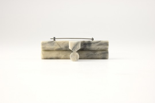Marble cross. 2013. Brooch. Caolin, silver. Stone cutting. 92x60x20mm. 43.9gr